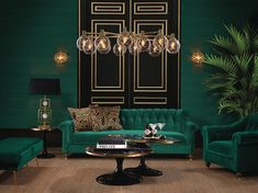 The 2018 Sofa Trends A luxurious sitting room with dark green walls and dark green velvet sofa and armchairs. Two black doors behind the sofa create a stunning accent backdrop. Image by Houseology. Dark Green Living Room, Dark Green Walls, Dark Living Rooms, Elegant Living Room, Living Area, Living Room Wall Designs, Art Deco Living Room, Living Room Paint, Living Room Furniture