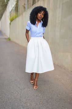 baby blue button up and a full skirt with pockets. what else do you need.