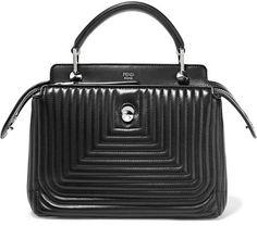 Fendi - Dotcom Click Quilted Leather Shoulder Bag - Black