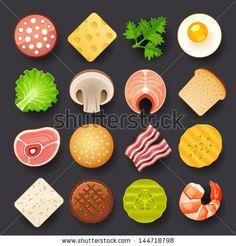 cartoon game food picture - cheese, bread, milk, shrimp, mashroom, bacon, lattuce...
