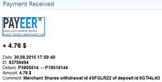 Payment received from Merchant Shares – 30/08/2015