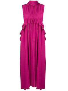 sleeveless long dress with flounces - PINK Pink Power, N21, Women Wear, Collections, Summer Dresses, Silk, Pretty, Fashion Design, Summer Sundresses