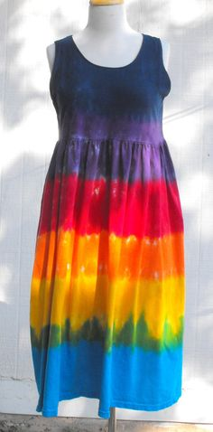 Tie Dye Adult Rainbow Empire Waist Dress by inspiringcolor on Etsy