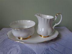 Royal Albert Val D'Or Small Creamer, Sugar Bowl & Undertray #RoyalAlbertBoneChina