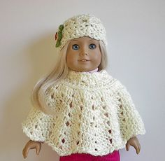 American Girl Doll Clothes Crocheted Poncho Set with Flowered Hat in Cream for 18 Inch Dolls. $12.50, via Etsy.