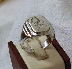 """900er+Silber-Siegelring+mit+Initialien+""""OB""""++SR341+von+Atelier+Regina++auf+DaWanda.com"""