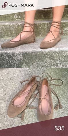 Madewell Inga Lace-up Flats | size 9 | NWOT These olive colored lace up flats have never been worn. They were a little small on me, otherwise I'd not be selling. Love these cute, stylish shoes! Made Of Soft Suede, These Round-Toe Skimmers Have Tassel-Tipped Laces That Can Be Looped Around The Ankle Or Crisscrossed Up The Leg (Hello, Options). Flats too cute to swap out for heels. Suede upper. Leather lining. Man-made sole. Madewell Shoes Flats & Loafers