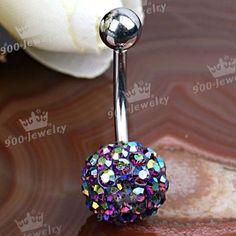 AB Purple CZ Crystal Ball Navel Belly Ring Piercing New | eBay
