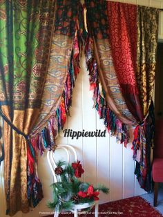Boho Curtains by Hippiewild Indian Curtains, Bohemian Curtains, Bohemian Decor, Floral Curtains, Striped Curtains, Bohemian Style, Velvet Curtains, White Curtains, Bohemian Bedding Sets
