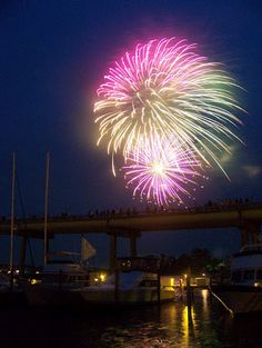 fireworks over the oriental bridge during the croaker festival/pamlico county, nc