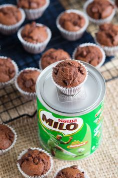 Chocolatey Milo Muffins made with the popular Nestle's Milo drink. These double chocolate muffins are hearty, delicious and addicting. A fun and delicious Milo recipe to make. You can top with frosting to turn these into Milo cupcakes. Brunch Recipes, Sweet Recipes, Breakfast Recipes, Lunch Box Recipes, Baking Recipes, Cake Recipes, Dessert Recipes, Food Cakes, Cupcake Cakes