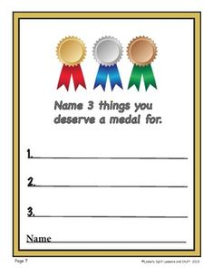 "WRITING prompts perfect for anytime to make kids feel special. Sixteen prompts with a range of writing skills in mind from those pre-writers who need to dictate to the story-tellers who need extra pages. Basics like ""What's your favorite color?"" To ""Name three things you deserve a medal for?"" What a KEEPSAKE for families!"