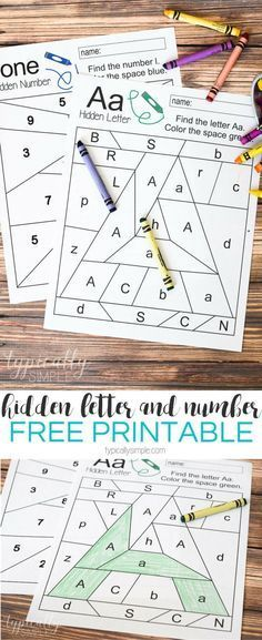 Free printable worksheets to practice letter and number recognition. Grab a few crayons and start coloring to find the Hidden Letter A and Hidden Number Perfect for preschool or early elementary as a way to practice letter and number identification and Preschool Letters, Learning Letters, Preschool Kindergarten, Kids Learning, Preschool Worksheets Alphabet, Alphabet Games, Letter Recognition Kindergarten, Kindergarten Checklist, Number Recognition Activities
