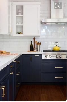 Best Two Tone Kitchen Cabinets Concept to Your Inspire Design, Home Decor, Break Out the Paint: Blue Kitchens Are Très Chic Right Now via Two Tone Kitchen Cabinets, Farmhouse Kitchen Cabinets, Kitchen Cabinetry, Kitchen Redo, New Kitchen, Kitchen Dining, White Cabinets, Awesome Kitchen, Kitchen White