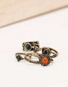 Bagues amulette pierres colorées - Accessoires - Bershka France