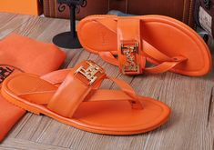 a3d75005bb75d0 We sell Hermes Leather Sandals Orange with the discount prices