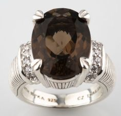 Judith Ripka Sterling Silver 8.00 ct Smoky by TJsvintagejewelry, $97.00