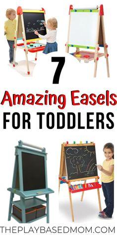 Best Toddler Art Easels for 2019 - Living For the Sunshine Toddler Easel, Toddler Art, Toddler Gifts, Toddler Toys, Toddler Activities, Family Activities, Wooden Easel, Wooden Art