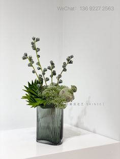 Ikebana Arrangements, Flower Arrangements, Green Plants, Flower Decorations, Dried Flowers, Flower Art, Planting Flowers, Florals, Glass Vase