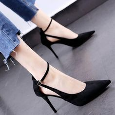 -PU -Imported -Synthetic and flexible sole -Dress sandal -Adjustable closure Black Pumps Outfit, Cute Black Heels, Heels Outfits, Black Strappy Heels, Ankle Strap Heels, Pointed Heels Outfit, Socks And Heels, Shoes Heels, Colorful Heels