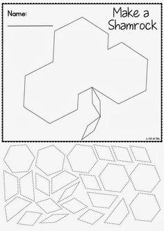 Free pattern Block Shamrock Worksheet
