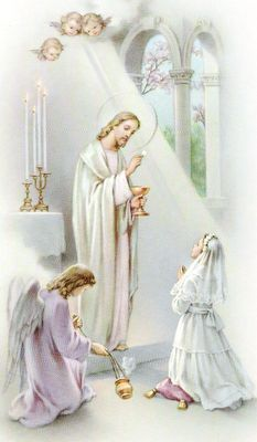 Barb uploaded this image to 'Seven Sacraments/Holy Communion'. See the album on Photobucket. First Communion Veils, First Holy Communion, Religious Pictures, Jesus Pictures, Catholic Art, Religious Art, Photo Ange, Vintage Holy Cards, Prayers