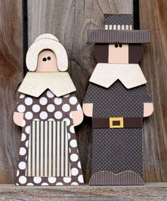 PILGRIMS Boy & Girl Thanksgiving Wood by Nicole Cornaby  of SweetPickleDesignsCo on Etsy
