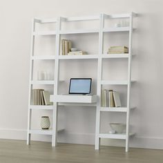 """Shop Sawyer White Leaning Desk with Two 18"""" Bookcases.  Space-saving, clean-looking Sawyer uses an ingenious leaning, modular design to creatively solve storage solutions throughout the home."""