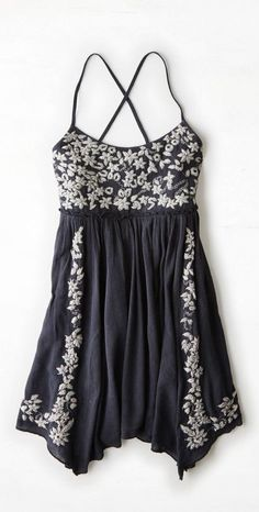 Boho Dress in Blue and White with Embroidery