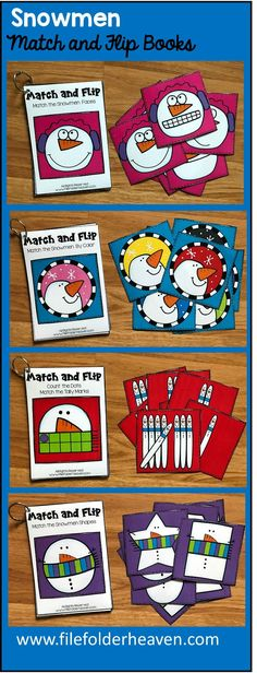 These Snowmen Match and Flip Books focus on basic matching skills. In these activities, students work on matching picture to picture (or by emotion/expression), matching by color, and matching by shape, and matching by counting. Early Learning Activities, Snow Activities, Preschool Activities, Preschool Worksheets, Preschool Learning, Learning Games, January Preschool Themes, Fall Preschool, Preschool Printables
