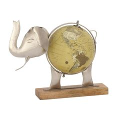 Unique Metal Wood Elephant Globe Nickel (Globe), Black (Acacia)