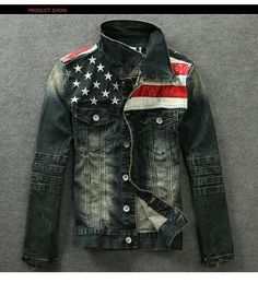 New 2014 American flag denim jacket for men do the old process motorcycle jeans short jacket jeans denim coat Plus Size S XXL-in Hoodies & Sweatshirts from Apparel & Accessories on Aliexpress.com | Alibaba Group