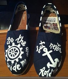 Custom Handpainted TOMS anchor toms nautical boat wheel from DesignByStine on Etsy. Saved to Shoes! Nautical Marine, Nautical Stripes, Boat Wheel, Hope Anchor, Kids Toms, Cruise Outfits, Discount Toms, Painted Shoes, T Shirt And Jeans