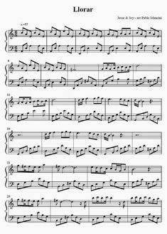 Partitura Piano  Llorar - Jesse y Joy ft. Mario Domm           Descargar PDF  aqui