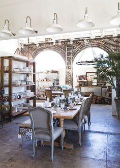 rustic + romantic industrial dining via Anne Sage