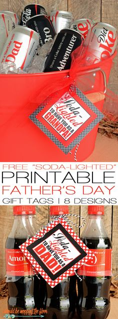 Soda-Lighted Printable Gift Tags for Dads and Grandpas | Makes the Perfect Father's Day Gift