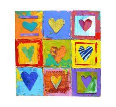 9 coeurs primitifs    Cette pièce est de 6 « x 6 » - peinture épaisse appliquée, tissu et collage de papier découpé sur bois. Vraiment vibrante