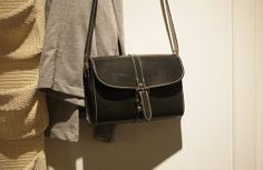 Handmade Leather Shoulder Bag / Small Black Quadrate by ionnoi, $94.00