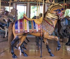 Six Flags New England Carousel Illions Outside Row Stander - Body is great, head and neck out of proportion