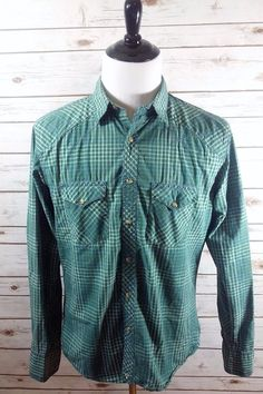 Men's WRANGLER Plaid Long Sleeve Western Shirt Size Large  Pearl Snap  #Wrangler #Western