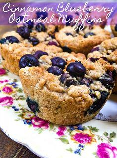 Healthy Cinnamon Blueberry Oatmeal Muffins - Simply Taralynn