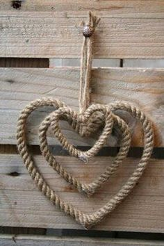 photo of rustic heart crafts I Love Heart, With All My Heart, Happy Heart, Rope Crafts, Diy Crafts, Heart Crafts, Western Decor, Western Crafts, Western Theme