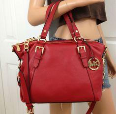 Michael Kors Red Gold Leather Satchel Crossbody Medium Shoulder Bag Purse | eBay