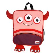 Nuby Monster Backpack and Lunch Bag Set, Red