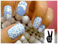 supanails:    Water Theme  wale, waves, clouds and rain  (sorry for bad photo quality!)