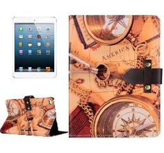 iPad Mini 4 Compass Pattern Leather Case with Holder & Genuine Leather Belt Fastener