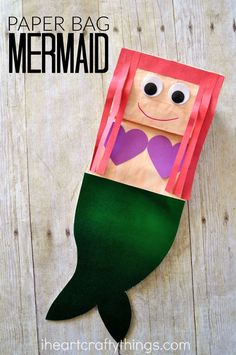 Paper Bag Mermaid Craft for Kids Do your kids love mermaids? They will love making this simple and cute paper bag mermaid craft. After making it they can play with it as a puppet. The post Paper Bag Mermaid Craft for Kids appeared first on Paper Diy. Kids Crafts, Daycare Crafts, Craft Activities For Kids, Summer Crafts, Cute Crafts, Preschool Crafts, Projects For Kids, Crafts To Make, Craft Kids