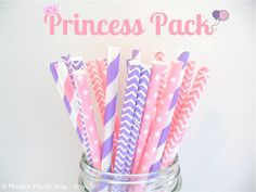 Pink and Purple Mixed Paper Straws Princess by PopUpPartiesShop