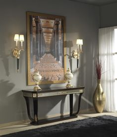 Luxury console from Richmond collection. Line inspired in the neoclassic style, combining natural walnut burl & Sycamore veneers, smoky walnut, high gloss finish, with venetian glass and bronze parts in shining gold finishing. Mariner Luxury Furniture