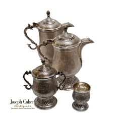 ANTIQUE SILVER KASHMIRI 4 PIECE TEA/COFFEE SERVICE, KANGRI, ISLAMIC INDIA C.1900 Coffee Service, Sugar Bowl, Bowl Set, Antique Silver, Joseph, Islamic, Jar, India, Antiques